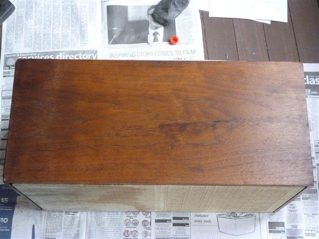 Side of a speaker cabinet before restorationSpeaker Restoration. Restoring Old Speaker Cabinets. Home Design Ideas