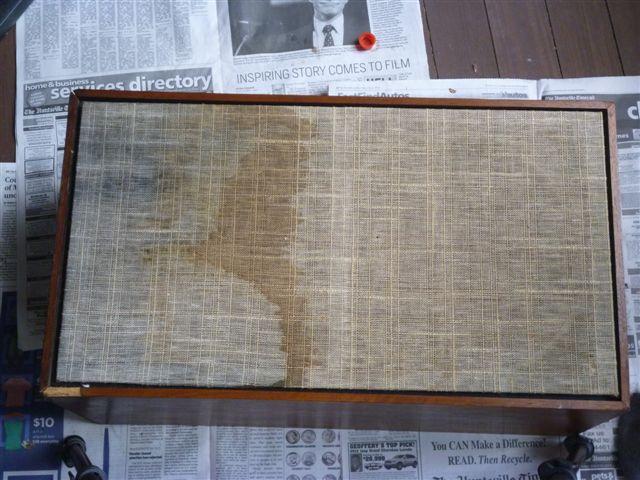 Side of a speaker cabinet before restoration  Speaker Restoration. Restoring Old Speaker Cabinets. Home Design Ideas