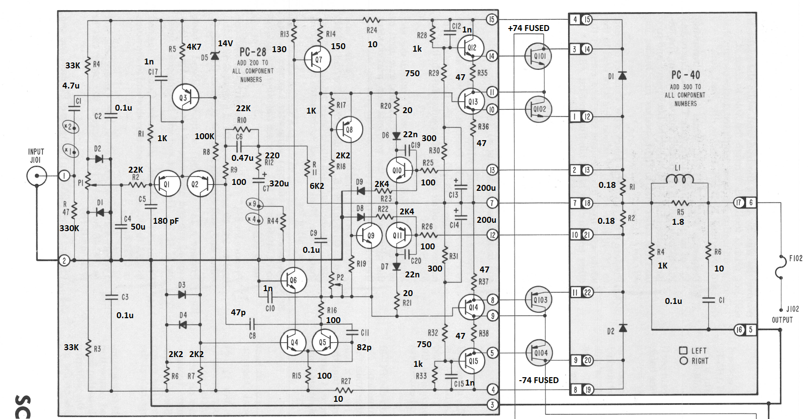 Stereo 400 416 And 410 Audio Amplifier Block Diagram Schematic With Annotated Values