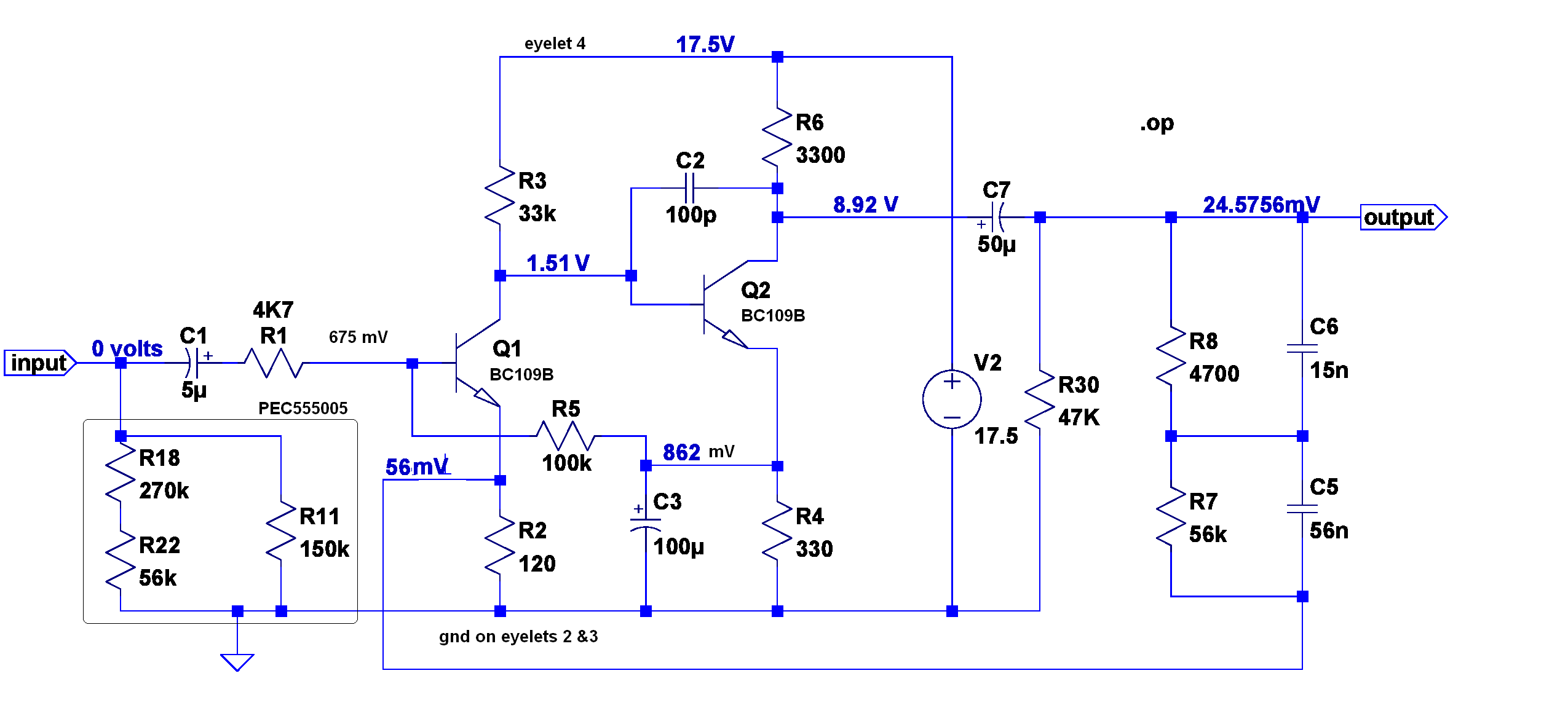 phono preamp schematic with DC bias voltages annotated