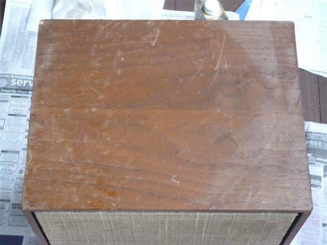 Top of a speaker cabinet before restoration  Speaker Restoration. Restoring Old Speaker Cabinets. Home Design Ideas